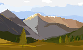 Landscape on the background of beautiful mountains. Vector landscape. Landscape on the background of beautiful mountains. Bright, colorful background Royalty Free Stock Photo