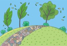 Landscape background. Children vector illustration Stock Photography