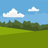 Landscape background. Landscape with clouds and forest in the background Royalty Free Stock Image