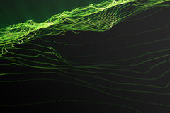 Landscape background. Cyberspace landscape grid. 3d technology. Abstract green landscape on black background with light. Rays, 3d rendering Royalty Free Stock Photo