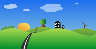 Landscape background. With hills, houses, road, sun, trees and clouds Royalty Free Stock Image