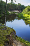 Landscape background small forest river with forest Stock Image