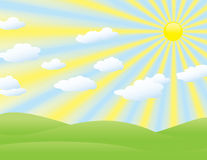 Landscape background with sun rays and clouds Royalty Free Stock Photography
