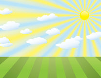 Landscape background with sun rays and clouds Royalty Free Stock Photos