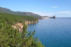 Landscape at the Baikal lake in Siberia. Royalty Free Stock Photo