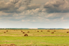 Landscape with bale of straw Royalty Free Stock Photography