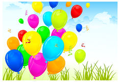 Landscape & balloons. Landscape with color balloons, sky and grass, vector illustration Stock Image