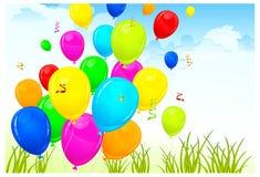 Landscape & balloons Stock Image