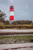 Landscape baltic sea dunes lighthouse in red and white Stock Images