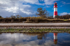 Landscape baltic sea dunes lighthouse in red and white Royalty Free Stock Photo