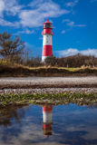 Landscape baltic sea dunes lighthouse in red and white Royalty Free Stock Images