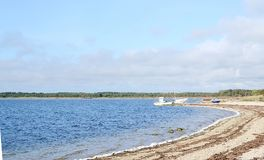 Landscape of Baltic seaside in an autumn day. Estonia, Saaremaa island, sunlight Stock Photo