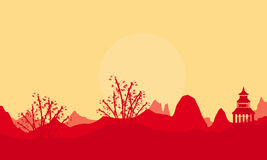 Landscape bamboo and pavilion of silhouettes. Vector Stock Photography