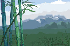 Landscape with bamboo Royalty Free Stock Images