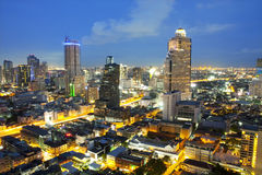 Landscape Bangkok city night view Stock Image