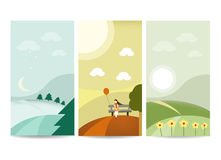 Landscape banner template. Flat design Stock Images