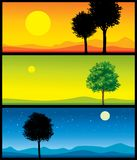Landscape banners. 3 colorful vector landscape illustrations Royalty Free Stock Images