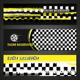 Grunge checkered racing banner. Landscape banners with grunge checkered racing elements. Vector illustration in black, yellow and white colours. Automotive Royalty Free Stock Photography