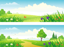 Landscape banners. Illustration of green landscape banners Stock Photography
