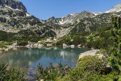 Landscape with Banski lakes and Small Polezhan peak, Pirin Mountain. Bulgaria stock photography