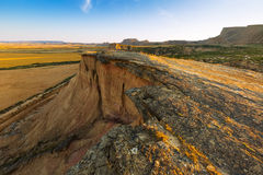 Landscape of bardenas reales natural park in summer morning Royalty Free Stock Photo
