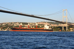 Landscape with barge and Ataturk Bridge Royalty Free Stock Images