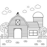 Landscape with barn, farmhouse, fence and orchard trees. stock illustration
