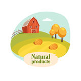 Landscape With Barn, Field And Hay Stacks, Farm And Farming Related Illustration In Bright Cartoon Style Stock Photos