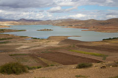 Landscape of the Barrage Sidi Chahed, Morocco. Landscape of the Barrage Sidi Chahed, reservoir built in 1990, Morocco Royalty Free Stock Photo