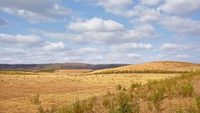 Hills of the Spanish countryside on a suny day with soft clouds royalty free stock images