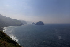 Landscape of the Basque coast near Machichaco cape. Landscape of the Basque coast near the lighthouse at Cape Matxichaco, Machichaco, Biscay, Basque Country stock photos