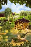 Landscape with bathhouse made from food Royalty Free Stock Photo