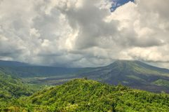 Landscape of Batur volcano on Bali island, Indonesia.  Royalty Free Stock Images