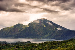 Landscape of Batur volcano on Bali island Stock Images