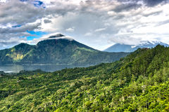 Landscape of Batur volcano on Bali island Royalty Free Stock Images
