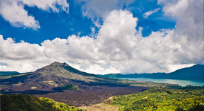 Landscape of Batur volcano on Bali island Stock Photography