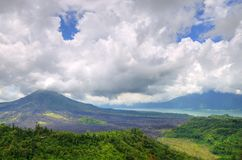 Landscape of Batur volcano on Bali island, Indonesia.  Stock Photo