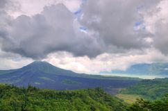 Landscape of Batur volcano on Bali island, Indonesia.  Stock Images