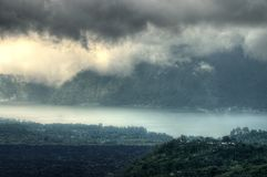 Landscape of Batur volcano on Bali island, Indonesia.  Royalty Free Stock Photography
