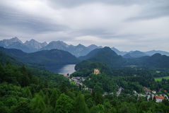 Landscape of Bavarian Alps in Germany, Hohenschwangau Castle vie Stock Image