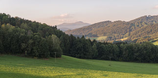 Landscape of bavarian forest with view to the mountain small and big Rachel.  stock images
