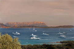 Landscape Bay of LISCIA RUJA SARDINIA IN SUNSET Stock Photo