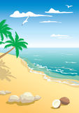 The landscape of beach. With coconut Stock Illustration