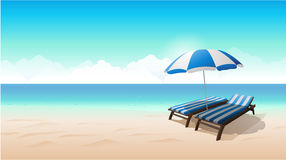 Landscape beach background vector illustration Royalty Free Stock Photos