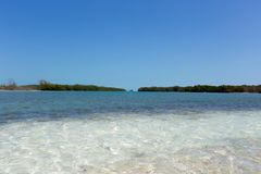Landscape of the beach in the Caribbean Sea Royalty Free Stock Image