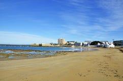 Landscape of the beach of La Caleta on the province of Cadiz Royalty Free Stock Photos