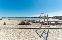 Landscape of the beach of Le Saline. In north sardinia, in a sunny day, water, nature, sea, blue, sky, beautiful, coast, coastline, seascape, sand, shore stock photography