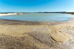 Landscape of the beach of Le Saline. In north sardinia, in a sunny day, water, nature, sea, blue, sky, beautiful, coast, coastline, seascape, sand, shore stock image
