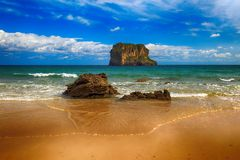 Landscape beach ocean in Asturias, Spain Royalty Free Stock Images