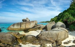 Beach and rocks on Similan islands. Landscape with beach and rocks on Similan islands, Thailand Royalty Free Stock Photo